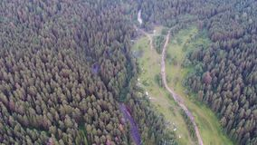 Aerial views of village Tyulyuk near of mount Iremel in the Southern Urals. Summer stock video