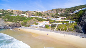 Aerial from the village Arifana in Portugal Stock Photos