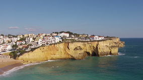 Aerial from the village Carvoeiro Portugal stock video footage