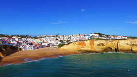 Aerial from the village of Carvoeiro in Portugal stock video footage