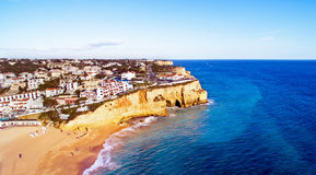 Aerial from the village Carvoeiro in Portugal Stock Images