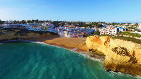 Aerial from the village Carvoeiro in Portugal stock footage