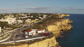 Aerial from the village Carvoeiro in Portugal stock video