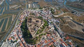 Aerial. The village of Castro Marim and the castle, filmed from sky drone. Aerial. The village of Castro Marim and the castle, filmed from the sky drone stock video