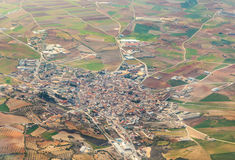 Aerial of village and fields around stock image