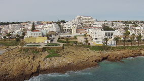Aerial from the village Luz in Portugal stock footage
