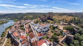 Aerial. The village of Mertola filmed with drone sky. Portugal Alentejo Guadiana. Aerial. The village of Mertola filmed with drone sky stock images