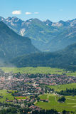 Aerial of village Oberstdorf in Allgäu with mountains Stock Photo