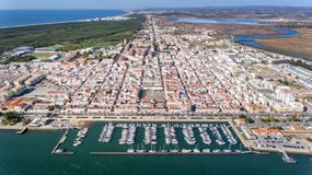 Aerial. Village VIla Real Sto Antonio on the river Guadiana, with a port for yachts and fishing boats. Royalty Free Stock Image