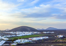 Aerial of village of Yaiza in Lanzarote Royalty Free Stock Image
