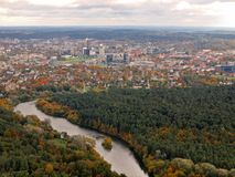 Aerial Vilnius city view from television tower Royalty Free Stock Images