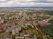 Aerial Vilnius city view from television tower Stock Photos