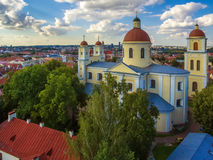AERIAL. Vilnius, Lithuania: Orthodox Church and monastery of Holy Spirit,. AERIAL. Old Town in Vilnius, Lithuania: Orthodox Church and monastery of the Holy Stock Image
