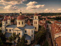 AERIAL. Vilnius, Lithuania: Orthodox Church and monastery of Holy Spirit,. Aerial top view from UAV. Old Town in Vilnius, Lithuania: Orthodox Church and Royalty Free Stock Image
