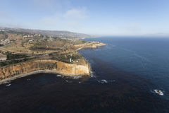 Aerial of Vincent Point in Rancho Palos Verdes California. Aerial view Vincent Point in the Rancho Palos Verdes area of Los Angeles County, California Royalty Free Stock Photo