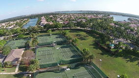 Aerial voew of tennis courts stock footage