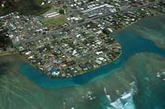 Aerial of Wailupe Peninsula along Kalanianaole Hwy Royalty Free Stock Image