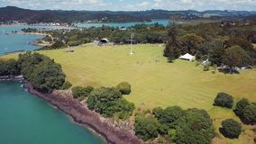 Aerial, Waitangi Treaty Grounds pull back 4k