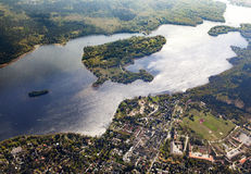 Aerial of the Wannsee in Berlin. With sailing boats royalty free stock photos