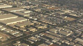 Aerial Warehouses In Industrial District royalty free stock photo