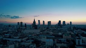 Aerial of Warsaw downtown in the evening