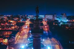 Aerial of Washington Monument Over Trenton New Jersey. Night time over the city. George Washington Monument stock photos