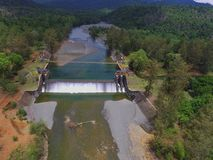 Aerial water dam view from drone stock photos
