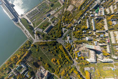 Aerial water power plant view with crossroads and Royalty Free Stock Photos