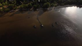 Aerial water transport boat view flying above the Baltic Sea Gulf - Beautiful nature water landscape scenery - Drone top. View cinematic professional smooth stock footage