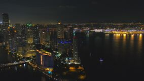 Aerial waterfront Miami night scene 4k. USA stock footage