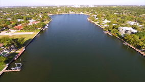 Aerial waterfront real estate 2 stock video footage