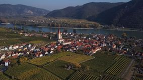 Aerial of Weisenkirchen, Wachau valley, Austria.