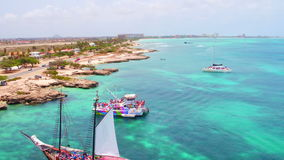 Aerial from the west coast from Aruba Island stock video