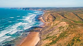 Aerial from the westcoast in Portugal. Europe Royalty Free Stock Images