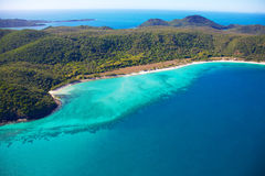 Aerial of Whitehaven Beach. Whitehaven Beach, part of the Whitsunday Island group in Queensland, Australia Stock Image