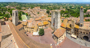 Aerial wide-angle view of the historic town of San Gimignano, Italy royalty free stock photography
