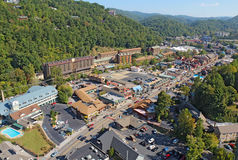 Aerial wide-angle view of the main road through Gatlinburg, Tenn Stock Photo