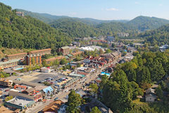 Aerial wide-angle view of the main road through Gatlinburg, Tenn Royalty Free Stock Photos