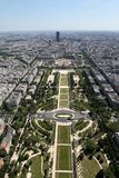 Aerial, wide angle view of Paris Royalty Free Stock Photo