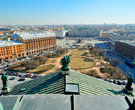 Aerial wide angle view of St. Petersburg from the colonnade of St. Isaac's Cathedral. Royalty Free Stock Photos