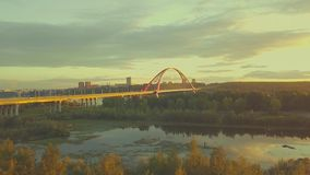 Aerial view of bridge with a road in Russia stock footage