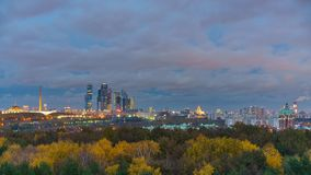 Aerial wiev on Moscow city at autumn: day to night transition time lapse stock video footage