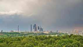 Aerial wiev on Moscow city at rainy summer day stock video footage