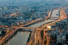 Aerial wiew of Ho Chi Minh city Stock Photography