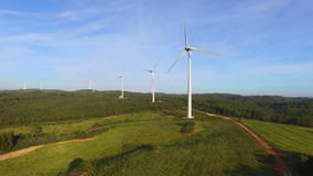 Aerial from windmills in the countryside stock video footage