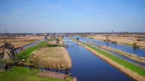 Aerial from windmills at Kinderdijk in the Netherlands stock video
