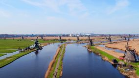 Aerial from windmills at Kinderdijk in the Netherlands stock footage