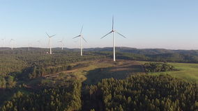 Aerial from windmills in Portugal stock footage
