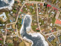 Aerial view of bay and Yacht Club Arcus in Rajgrod. Aerial winter view of bay and Yacht Club Arcus in Rajgrod, Poland royalty free stock photography