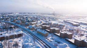 Aerial winter view of Kiruna, the northernmost town in Sweden, province of Lapland, winter sunny picture shot from drone. Aerial winter view of Kiruna, the Stock Photography